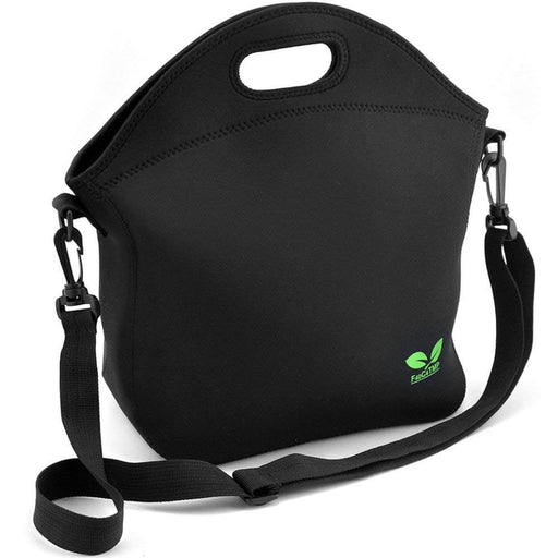 Doubleleaves 7L Neoprene Lunch Bag with Shoulder Strap and Pocket (Black)