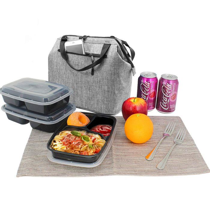 9 Cans Soft Insulated Lunch Tote Bag (Gray)