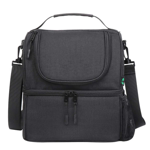 12 Cans Dual Compartments Insulated Lunch Bag (Black)