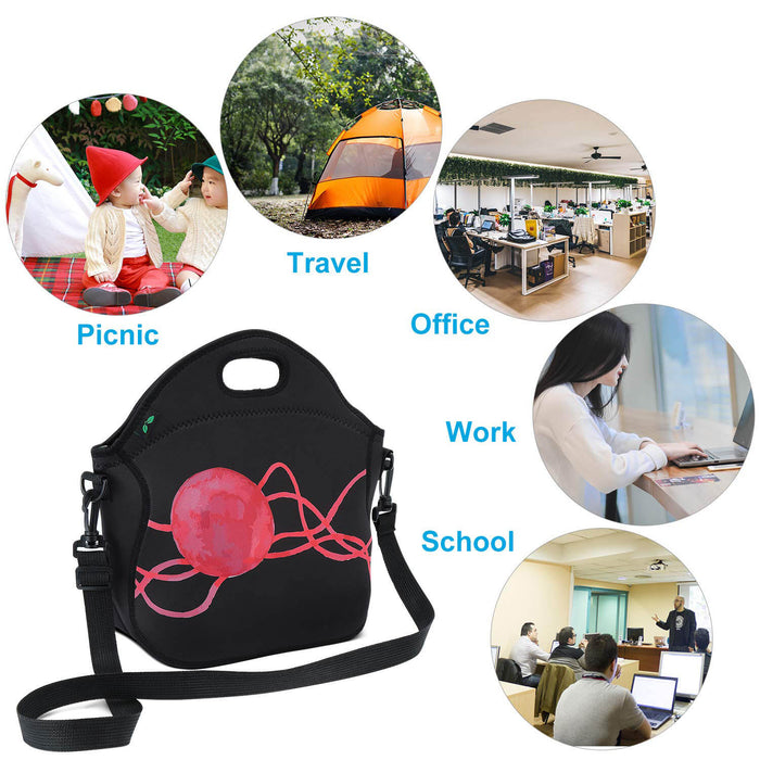 7L Neoprene Lunch Bag with Shoulder Strap and Pocket (Black/Red)