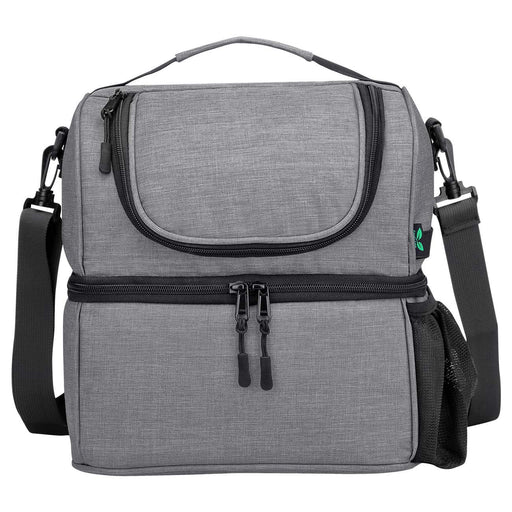 12 Cans Dual Compartments Insulated Lunch Bag (Grey)