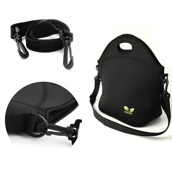 7L Neoprene Lunch Bag with Shoulder Strap and Pocket (Black)