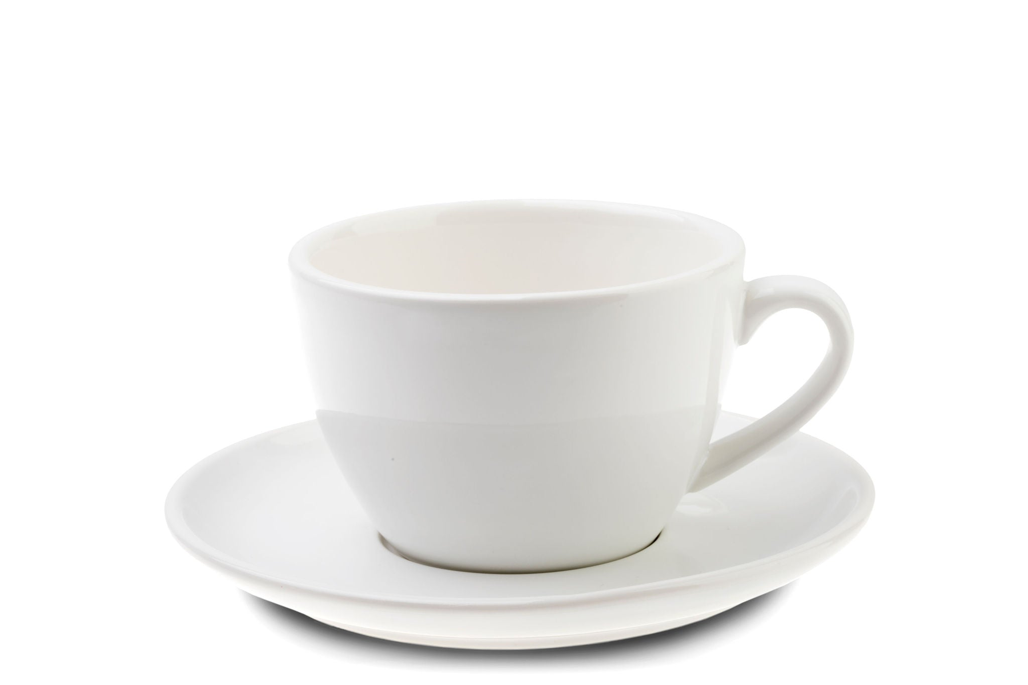 WHITE 12oz Cup & Saucer