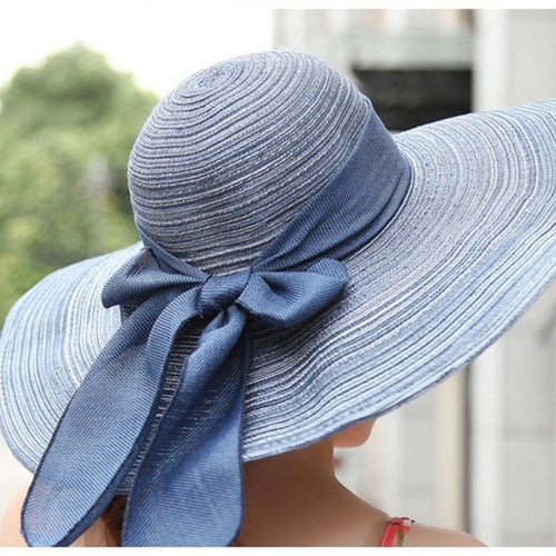 Wide Brim Sun Hat with Bowknot