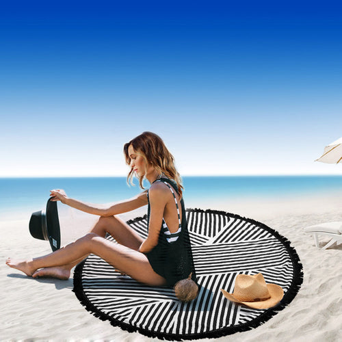Round Geometric Beach Blanket