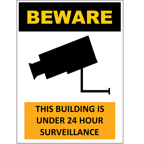 Beware Building Surveillance Camera
