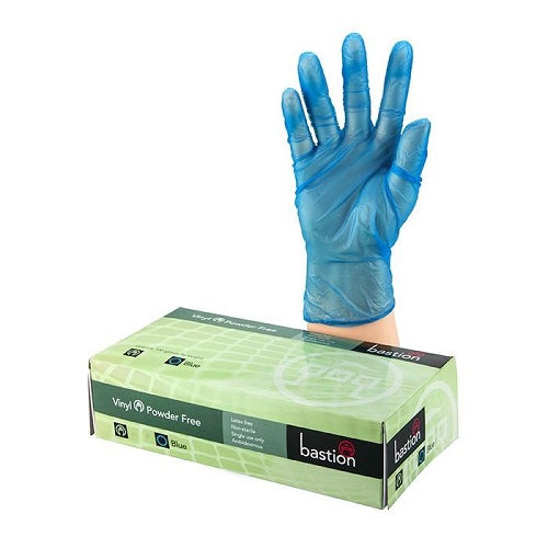 Bastion Blue Vinyl Powder Free Gloves