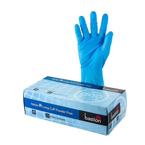Bastion Blue Nitrile Long Cuff Gloves 300mm