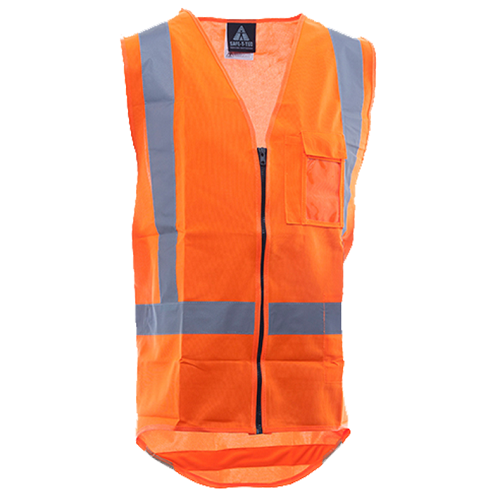 Hi-Viz Day/Night Zipped Safety Vest Orange