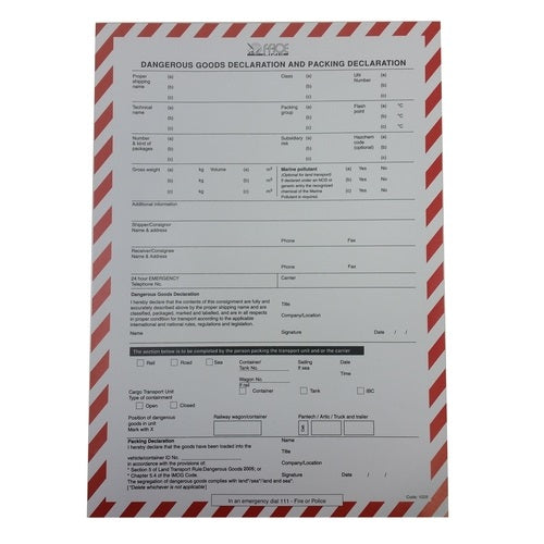 Dangerous Goods Pad