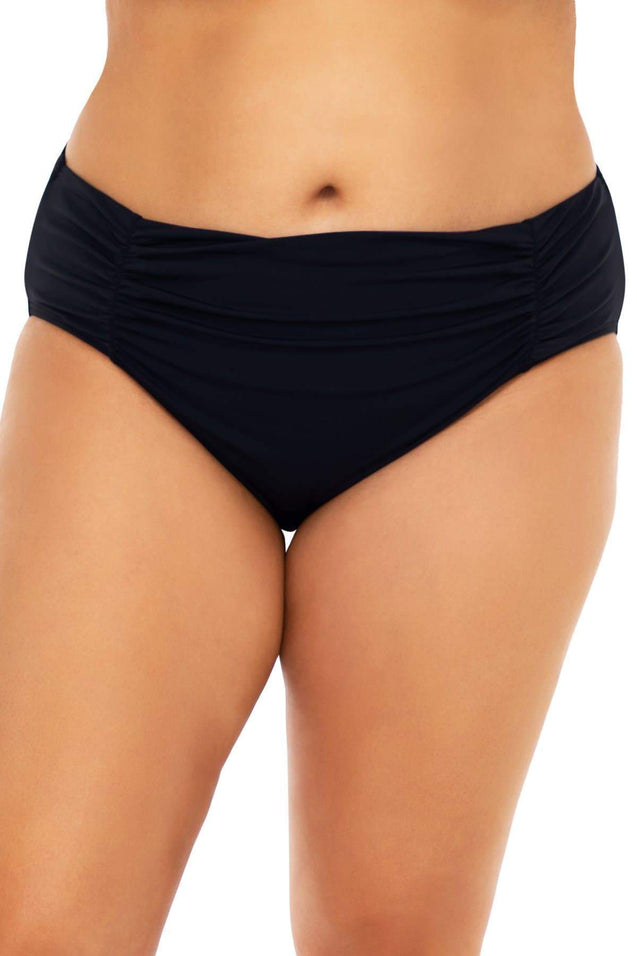 Sunsets Swimwear Escape Black Shoreline Shirred Bottom
