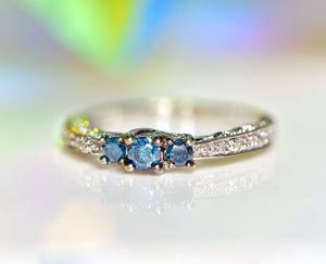 10k White Gold Blue & White Diamond Ring