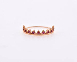 10k Ruby Gemstone Rose Gold Crown Ring