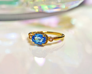 14k Yellow Gold Blue Topaz Gemstone & Diamond Ring