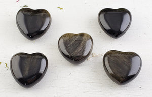 Gold Sheen Obsidian Gemstone Polished 30Mm Heart Carvings