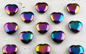 Rainbow Titanium Quartz Gemstone Heart Carvings