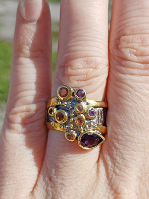 Sterling Silver & Amethyst Gemstone Ring - Ambrosia Veil Jewelry
