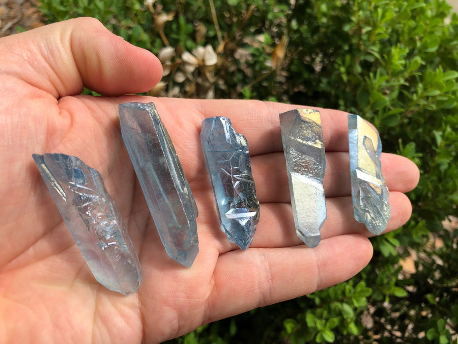 Natural Aqua Aura Quartz Gemstone Points Stone Obelisks & Towers