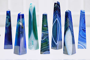Banded Blue Agate Gemstone Obelisk Tower