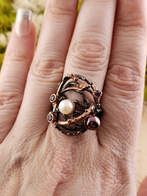 Sterling Silver & Pearl And Amethyst Ring - Circle Of Love Gemstone Jewelry