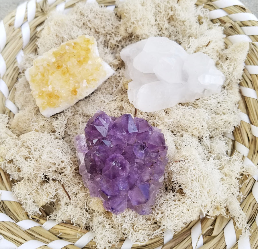 3 Pc Gemstone Cluster Kit Crystal Healing Bundle Tumbled Gemstones