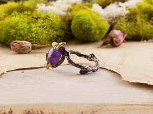 Sterling Silver & Amethyst Gemstone Ring - Dragon Heart Jewelry