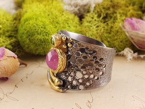 Sterling Silver & Ruby Gemstone Floral Ring - Dragons Fire Jewelry