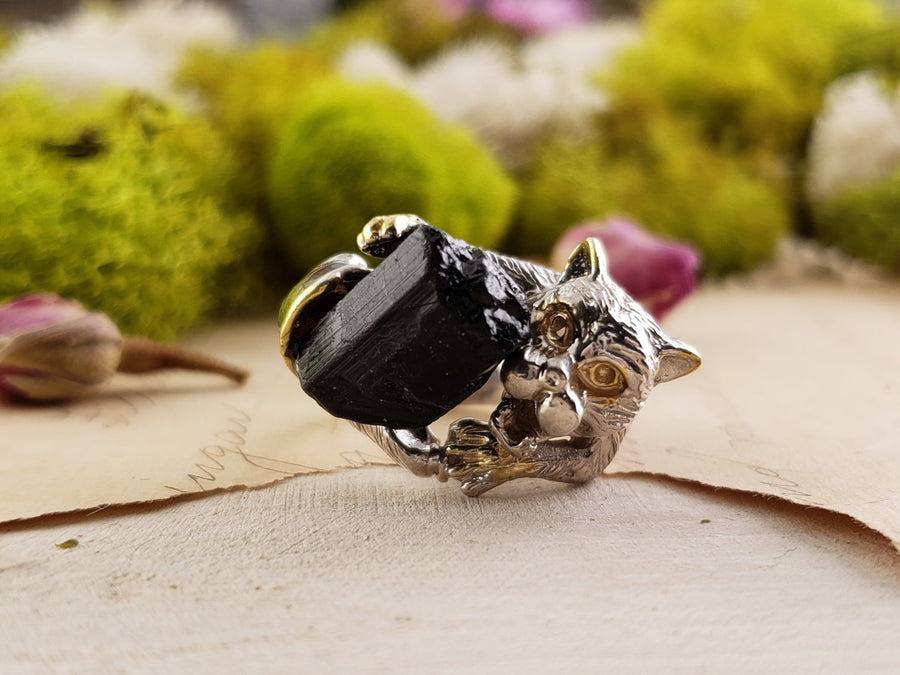Sterling Silver & Black Tourmaline Gemstone Ring - Ebony Jungle Jewelry