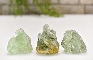 Green Fluorite Natural Gemstone Cluster Stones