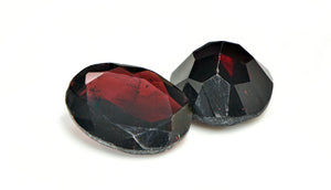 Garnet Faceted Gemstone Loose Cabochon - 2 Stones
