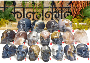Banded Agate Polished Gemstone Skulls