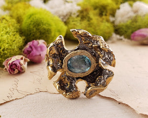 Sterling Silver & Aquamarine Gemstone Ring - Ice Flower Jewelry