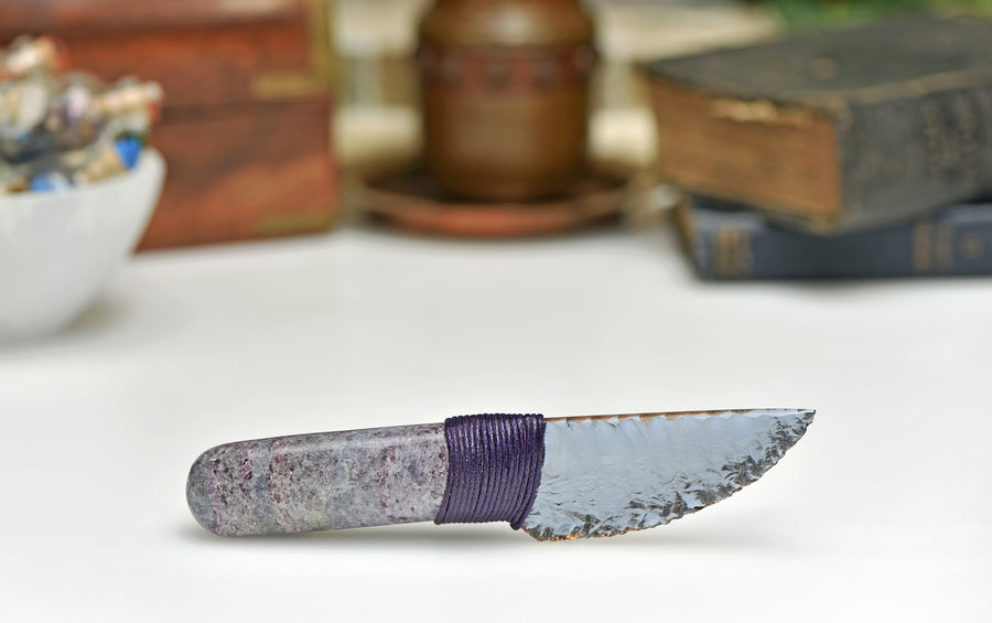Gemstone Knife with Hexagonite Handle and Dichroic Glass Blade