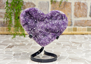 Amethyst Druzy Gemstone Heart Carving on Metal Stand