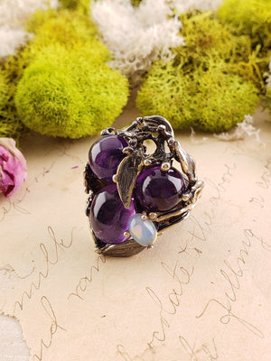 Sterling Silver & Amethyst And Opal Gemstone Ring - Lilac Stargazer Jewelry