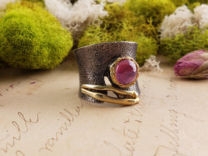 Sterling Silver & Ruby Gemstone Ring - Love Kiss Jewelry