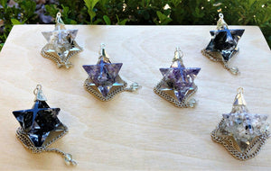 Gemstone Merkaba Pendulum - Tool Of Divination Magic And Spirit World Communication Carvings