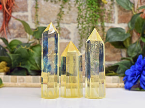 "Pineapple Yellow Quartz Polished Gemstone Tower Point 6""-10"" (154mm-254mm)"