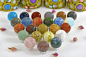 30Mm Multi Gemstone Orb Marble Sphere Spheres & Orbs