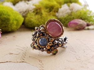 Sterling Silver & Star Ruby And Sapphire Ring - Secret Garden Gemstone Jewelry