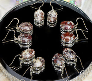 Campbellite Gemstone and Sterling Silver Earrings