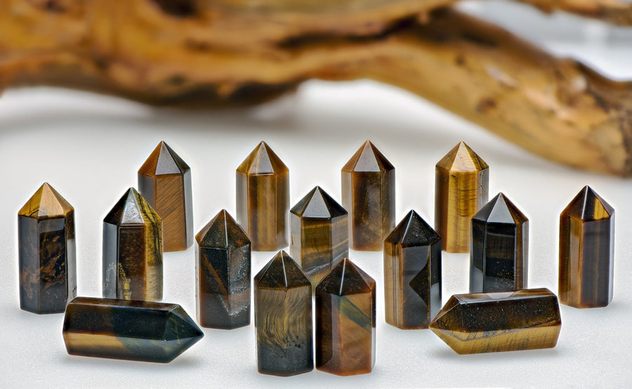 Tiger Eye Gemstone Point Tower - Small Stone Obelisks & Towers