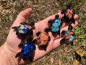 Glass Gemstone Turtles Carvings