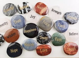 Gemstone Affirmation Palm Meditation Stone Carvings