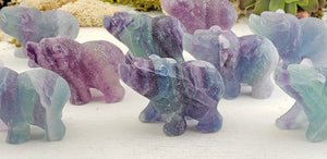 Fluorite Bear Spirit Guide Gemstone Carving