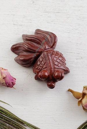 Red Jasper Goldfish Totem Animal Carving Gemstone Carvings