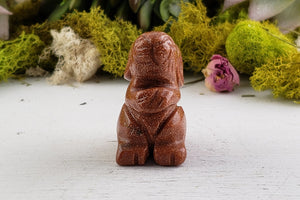 Goldstone Rabbit Totem Animal Carving Gemstone Carvings