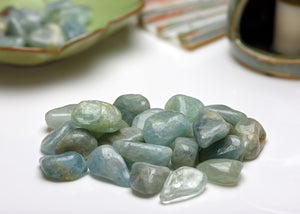 Aquamarine Blue Beryl Gemstone Tumbled - Stone of Ethereal Power & Royalty