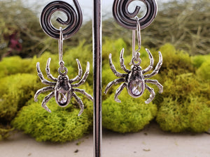 Amethyst Spider Gemstone Sterling Silver Earrings Jewelry