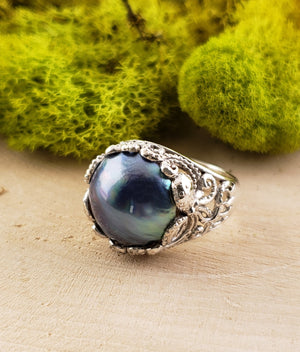 Blue Pearl Octopus Gemstone Sterling Silver Ring Jewelry